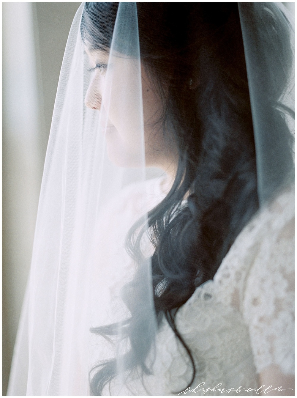 Veil bride | Ethereal bride | Film photographer | San Diego fine art wedding photography |Carmel Mountain Ranch Country Club Wedding | Whiskers and Willow Photography