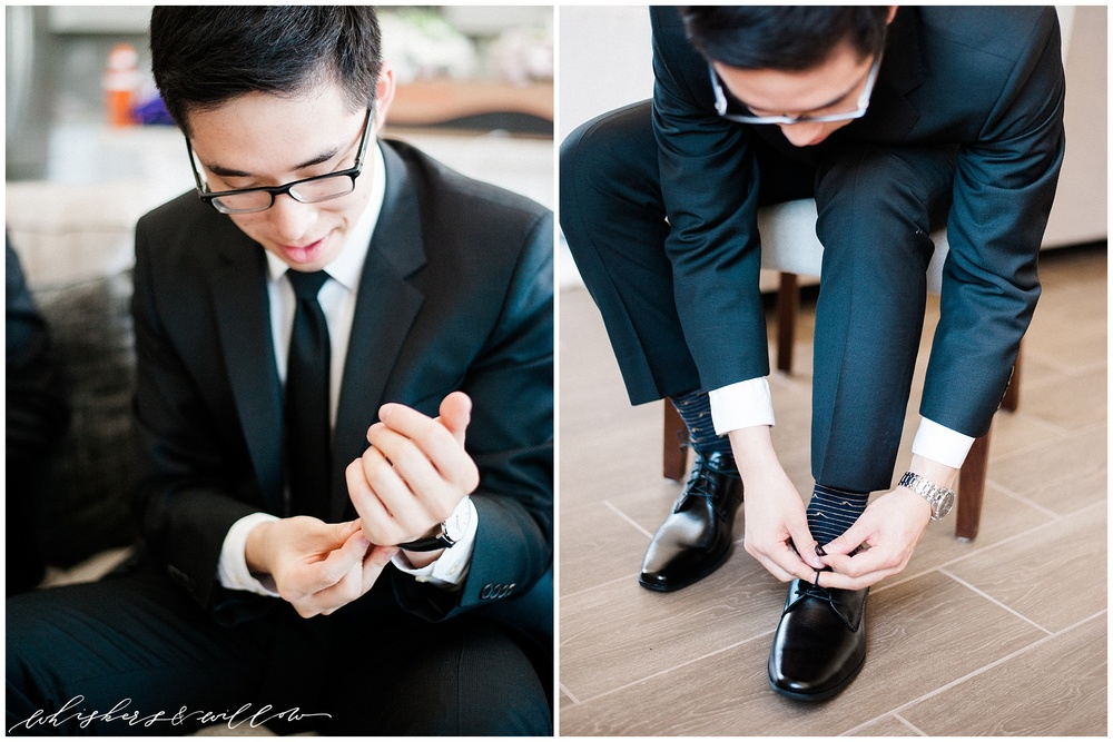 Groom getting ready | Classic black tux | classic groom | San Diego fine art wedding photography | Carmel Mountain Ranch Country Club Wedding | Whiskers and Willow Photography