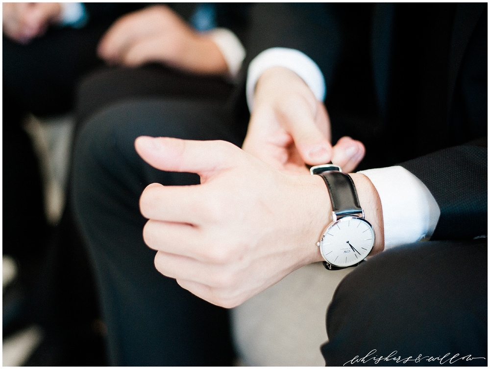 Groom details | classic watch | San Diego fine art wedding photography | Carmel Mountain Ranch Country Club Wedding | Whiskers and Willow Photography