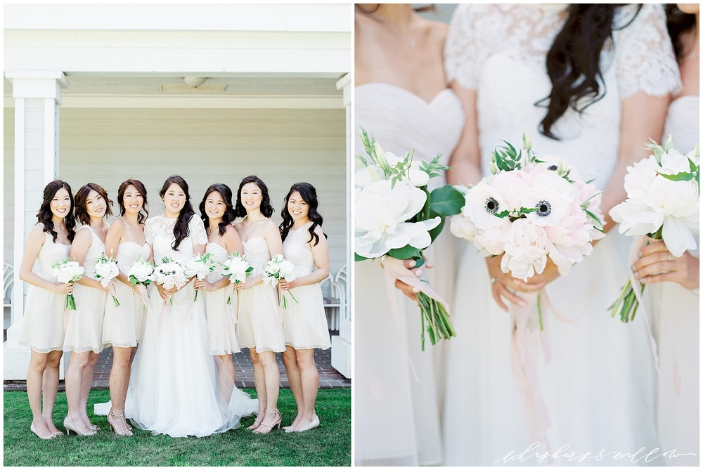 Blush bridesmaids dress | anemone peony | bridal bouquet | blush and white bouquet | Film photographer | San Diego fine art wedding photography | Carmel Mountain Ranch Country Club Wedding | Whiskers and Willow Photography