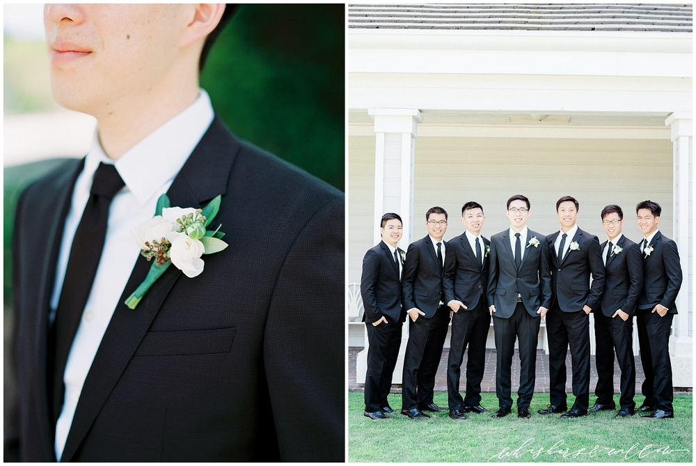 Classic black tux | groom tux | groomsmen | black tie | Film photographer | San Diego fine art wedding photography | Carmel Mountain Ranch Country Club Wedding | Whiskers and Willow Photography