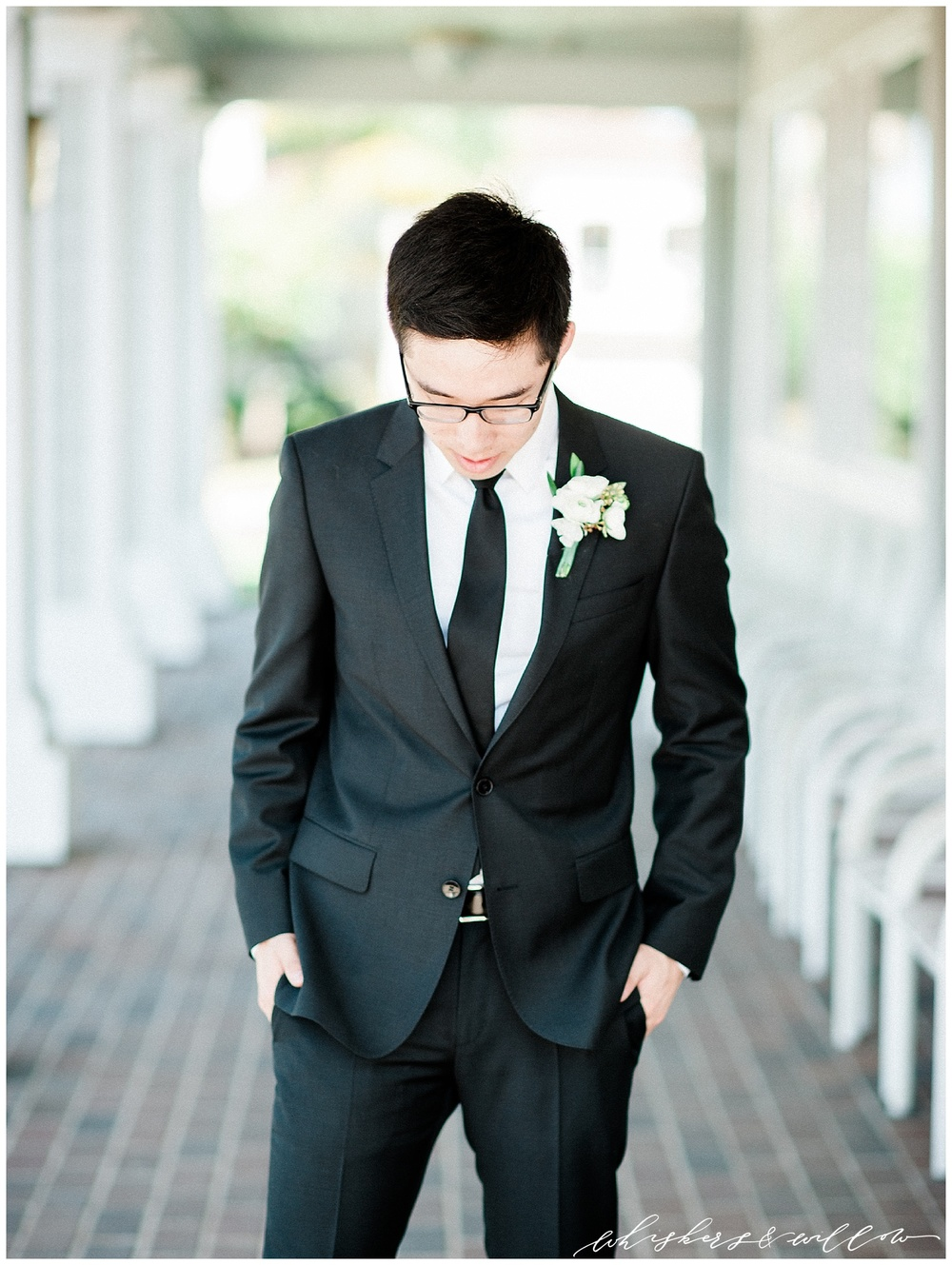 Classic black tux | Groom tux | San Diego fine art wedding photography | Carmel Mountain Ranch Country Club Wedding | Whiskers and Willow Photography