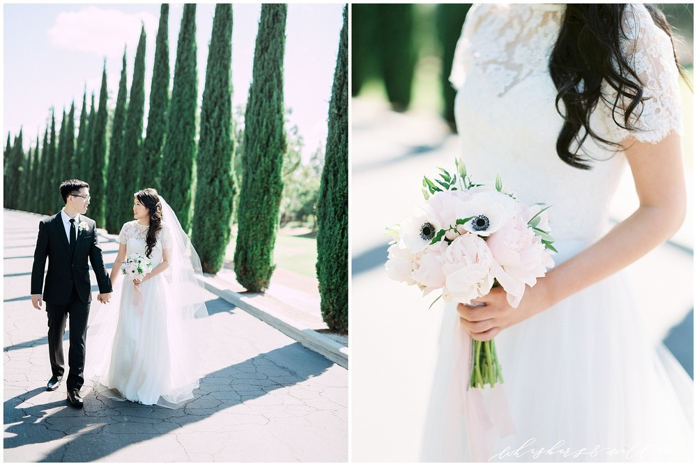 Classic bride and groom | anemone peony | blush and white bouquet | lace top tulle skirt | Film photographer | San Diego fine art wedding photography | Carmel Mountain Ranch Country Club Wedding | Whiskers and Willow Photography