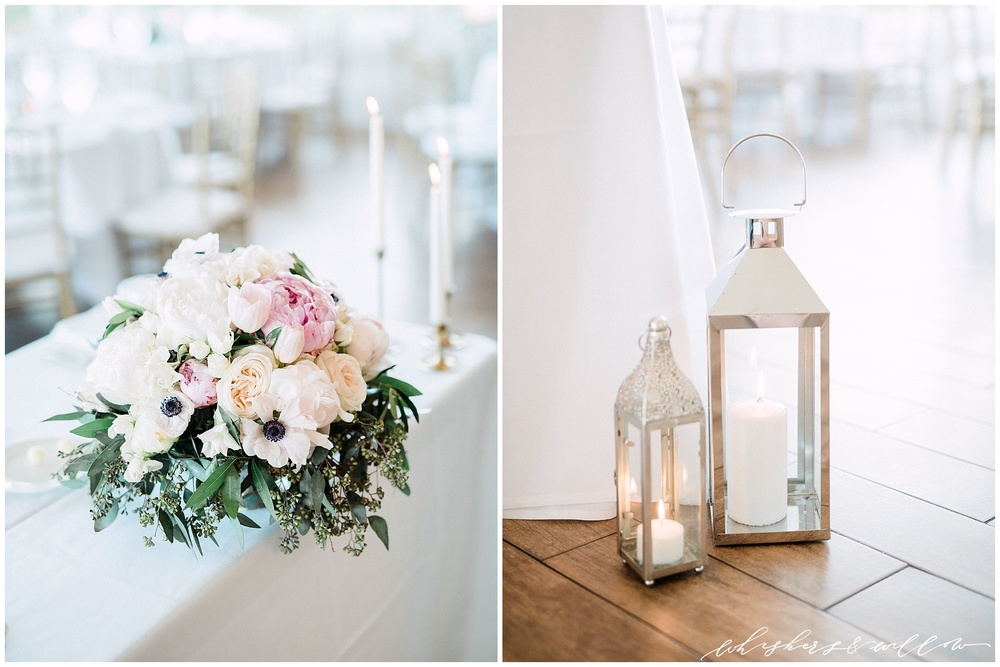 Centerpiece | Anemone peony garden rose eucalyptus | blush pink white green | Classic blush and gold reception | San Diego fine art wedding photography | Carmel Mountain Ranch Country Club Wedding | Whiskers and Willow Photography