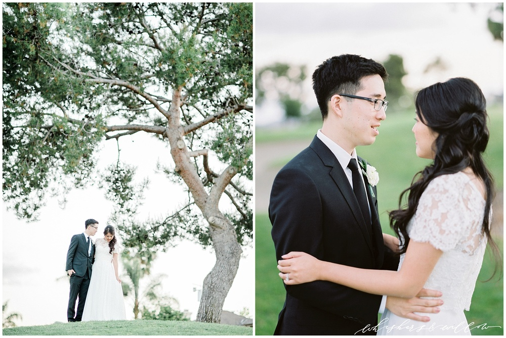 Classic bride and groom | lace top tulle skirt | Film photographer | San Diego fine art wedding photography | Carmel Mountain Ranch Country Club Wedding | Whiskers and Willow Photography