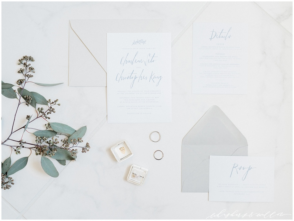 Grey and pale blue invitation suite | Carmel Mountain Ranch Country Club Wedding | Whiskers and Willow Photography