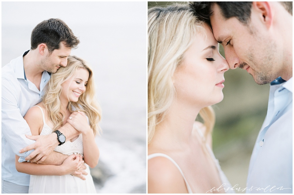 Sunset Cliffs San Diego | Engagement Photos | Beach Engagement | White Maxi Dress | Engagement Outfit | Fine Art Film Photographer | Whiskers and Willow Photography