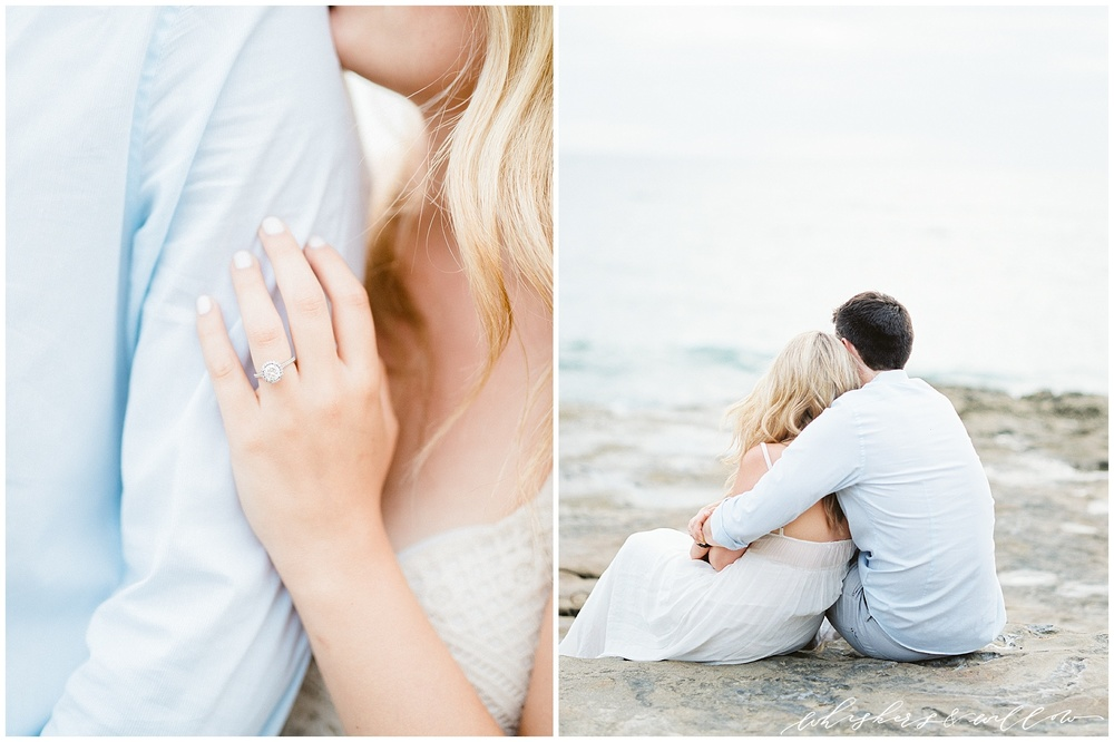 Sunset Cliffs San Diego | Engagement Photos | Beach Engagement | Halo Engagement Ring | White Maxi Dress | Engagement Outfit | Fine Art Film Photographer | Whiskers and Willow Photography