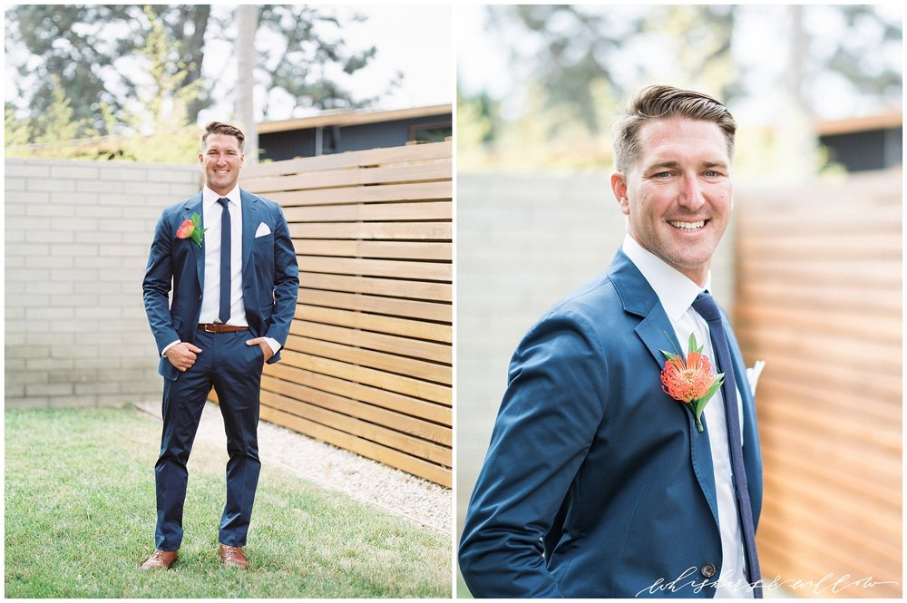 Modern Groom | Blue Suit | Blue and Orange | La Jolla Wedding Photographer | San Diego Fine Art Wedding Photographer | Whiskers and Willow Photography