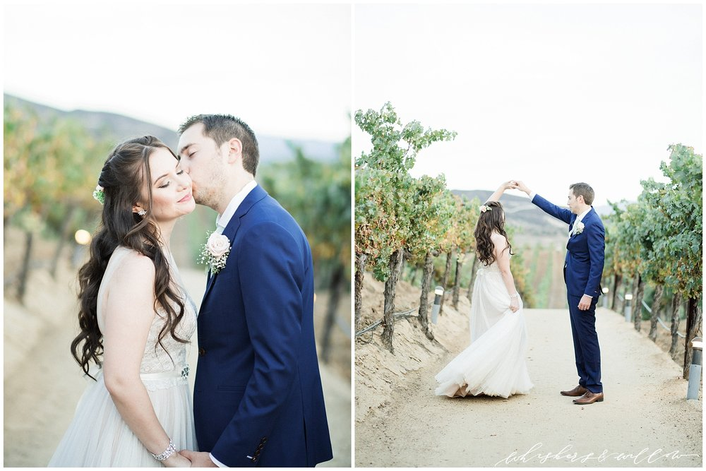 Romantic bridal gown | Blue groom suit | Leoness Cellars Winery Wedding | Temecula Wedding Photographer | San Diego Wedding Photographer | San Diego Film Photographer | Whiskers and Willow Photography