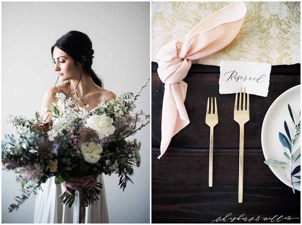 Modern forage florals by Layered Vintage | Modern and moody Tabletop by Luna Wild Design | San Diego Wedding Photographer | Type and Title | Whiskers and Willow Photography