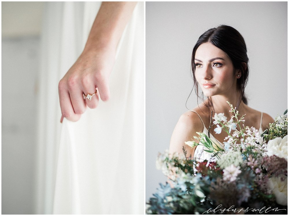 Modern forage florals by Layered Vintage | Modern and moody bride | Modern solitaire engagement ring by Susie Saltzman | San Diego Wedding Photographer | Type and Title | Whiskers and Willow Photography