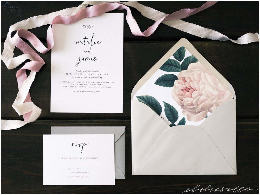 Modern forage florals by Layered Vintage | Modern and moody stationary | San Diego Wedding Photographer | Type and Title | Whiskers and Willow Photography