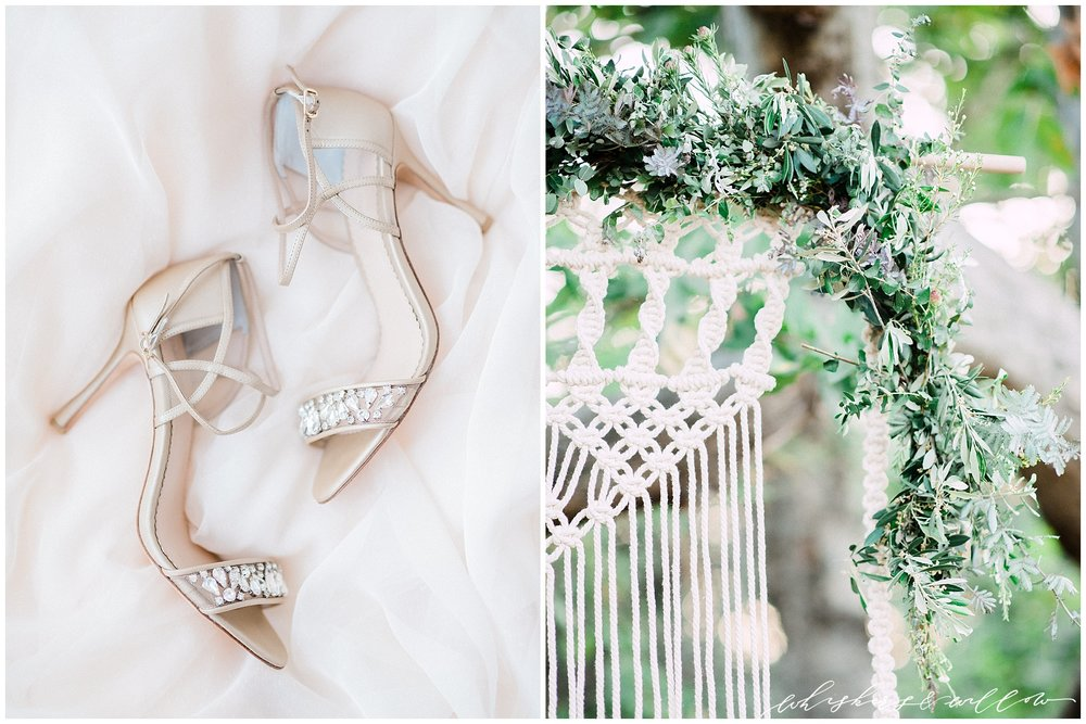 Garden wedding inspiration | macrame backdrop | Bella belle shoes | modern nude bridal heels | San Diego Wedding Photographer | Type and Title | Whiskers and Willow Photography