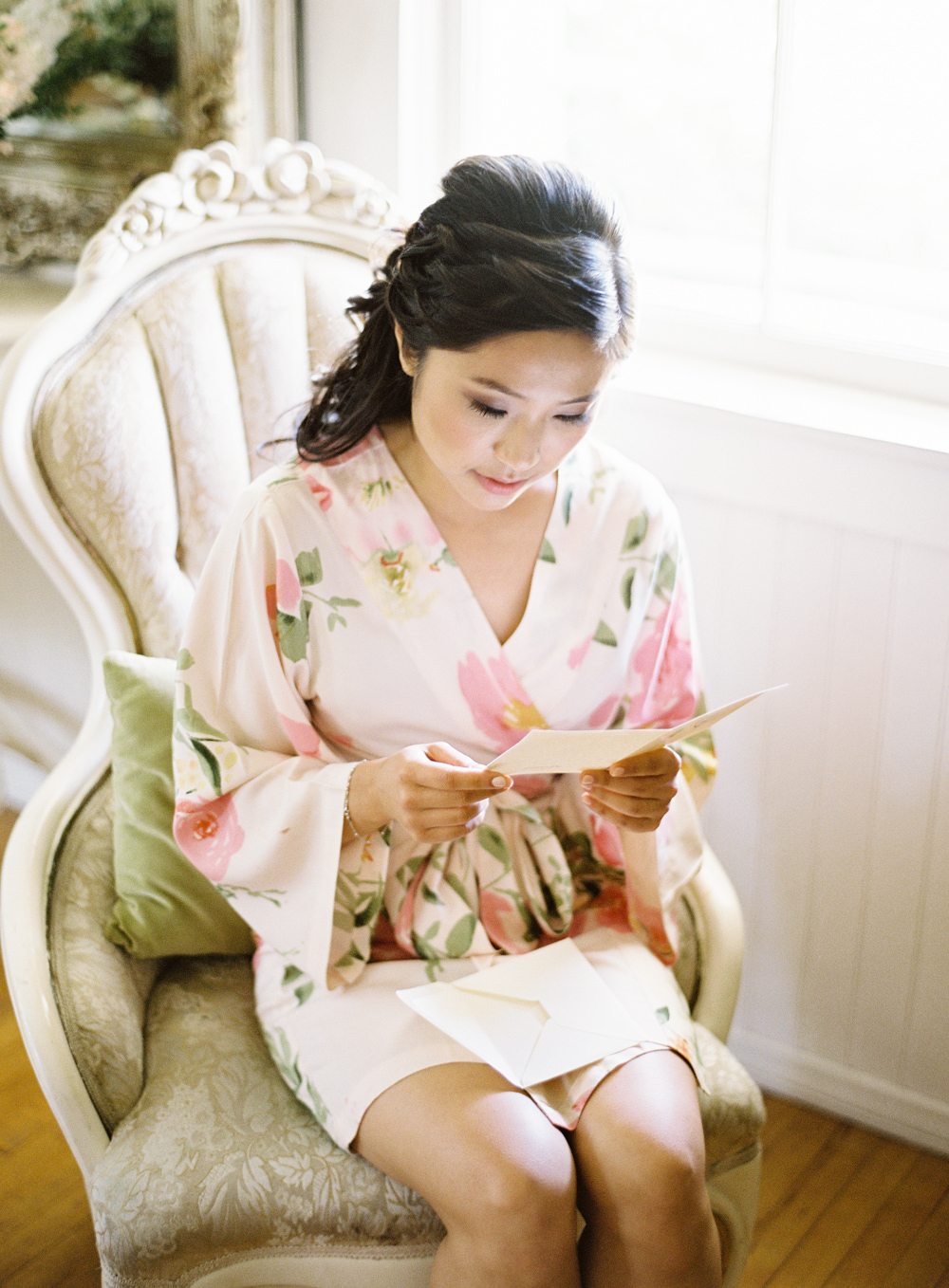 Romantic Garden Wedding in California | Style Me Pretty | Green Gables Estate | Pink bridal getting ready robe | Classic Romantic | Southern California Film photographer | Whiskers and Willow Photography.jpg