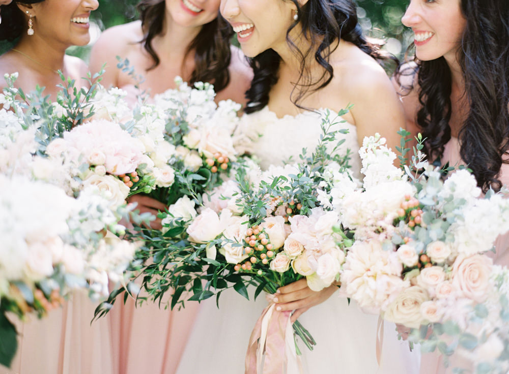 Romantic Garden Wedding in California | Style Me Pretty | Green Gables Estate | Classic Romantic blush pink bridal bouquet | Pink bridesmaids maxi dresses | Southern California Film photographer | Whiskers and Willow Photography