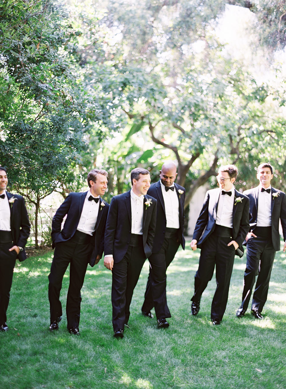 Romantic Garden Wedding in California | Style Me Pretty | Green Gables Estate | Classic Romantic groomsmen tux | Southern California Film photographer | Whiskers and Willow Photography