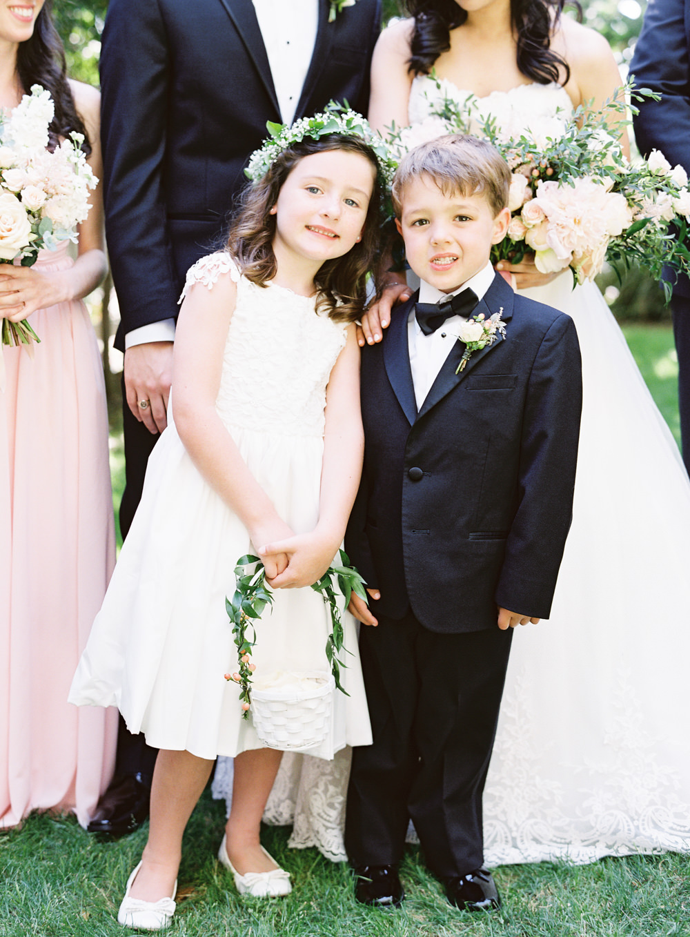 Romantic Garden Wedding in California | Style Me Pretty | Green Gables Estate | Classic Romantic flower girl and ring bearer | Southern California Film photographer | Whiskers and Willow Photography