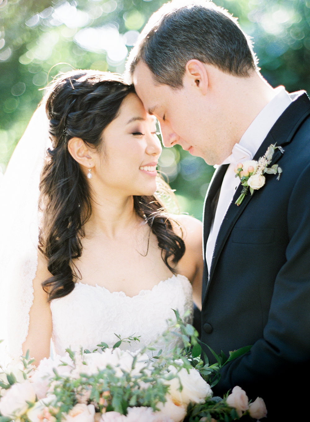 Romantic Garden Wedding in California | Style Me Pretty | Green Gables Estate | Classic Romantic bride and groom | blush pink green bridal bouquet florals | Southern California Film photographer | Whiskers and Willow Photography
