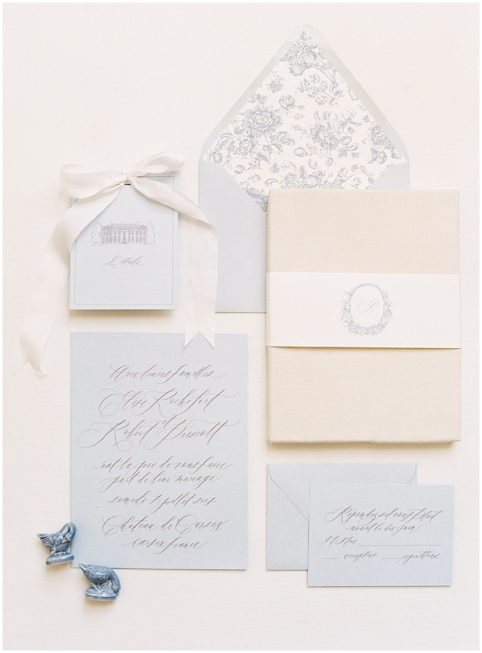 French paper suite | Light blue beige stationary | Joy Proctor Design | Written Word Calligraphy | French Wedding Inspiration | France Wedding | Destination Film Photographer | Paris Wedding | Fine Art Film Photographer | Whiskers and Willow Photography