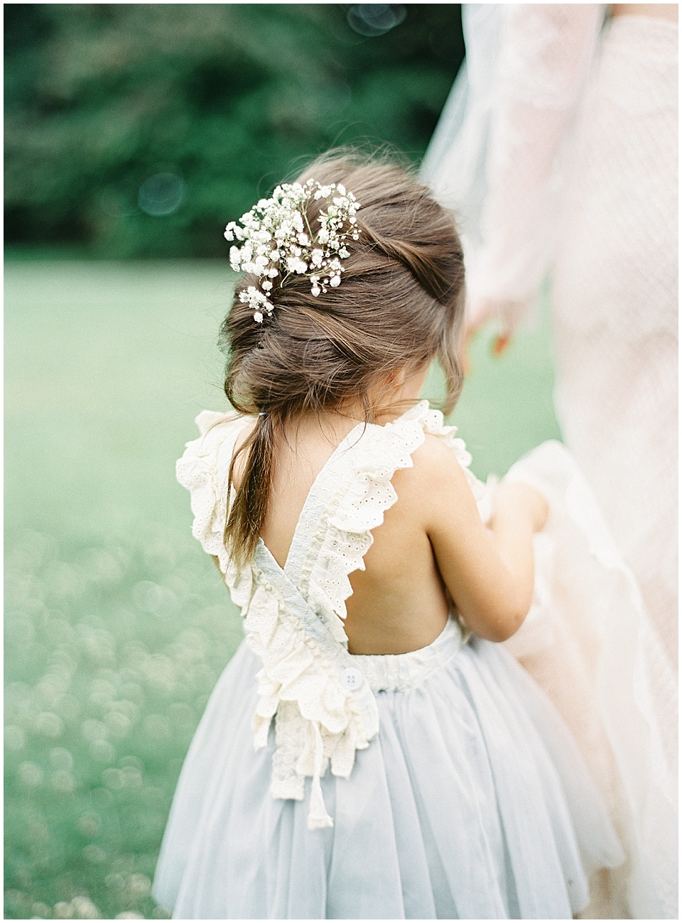 Light blue flower girl dress | Yolan Cris wedding gown | French Wedding Inspiration | France Wedding | Destination Film Photographer | Paris Wedding | Fine Art Film Photographer | Chateau De Carsix | Whiskers and Willow Photography