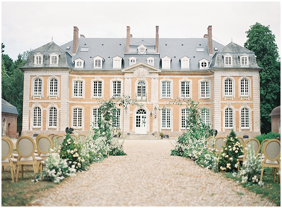 Ceremony setup | French chateau | Joy Proctor Design | Bows and Arrows florals | French Wedding Inspiration | France Wedding | Destination Film Photographer | Paris Wedding | Fine Art Film Photographer |  Chateau De Carsix | Whiskers and Willow Photography