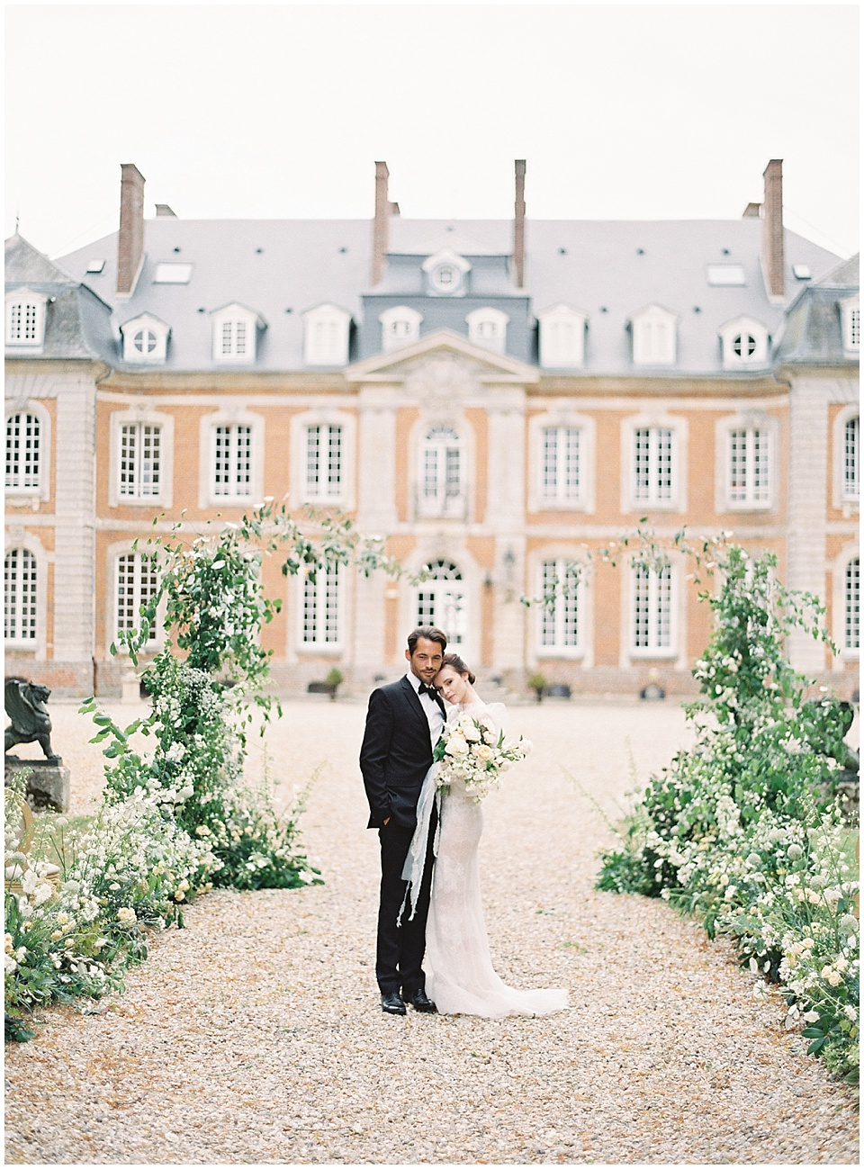 Ceremony setup | French chateau | Bride and groom portraits | Joy Proctor Design | Bows and Arrows florals | French Wedding Inspiration | France Wedding | Destination Film Photographer | Paris Wedding | Fine Art Film Photographer |  Chateau De Carsix | Whiskers and Willow Photography