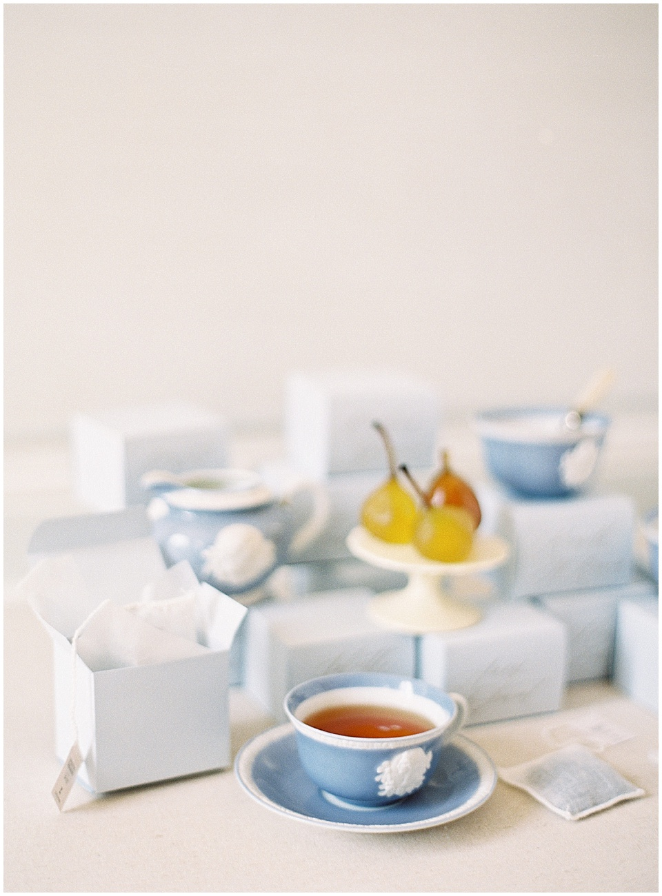 Joy Proctor Design | Wedding Favors | light blue | tea favors | poached pear | French Wedding Inspiration | France Wedding | Destination Film Photographer | Paris Wedding | Fine Art Film Photographer |  Chateau De Carsix | Whiskers and Willow Photography