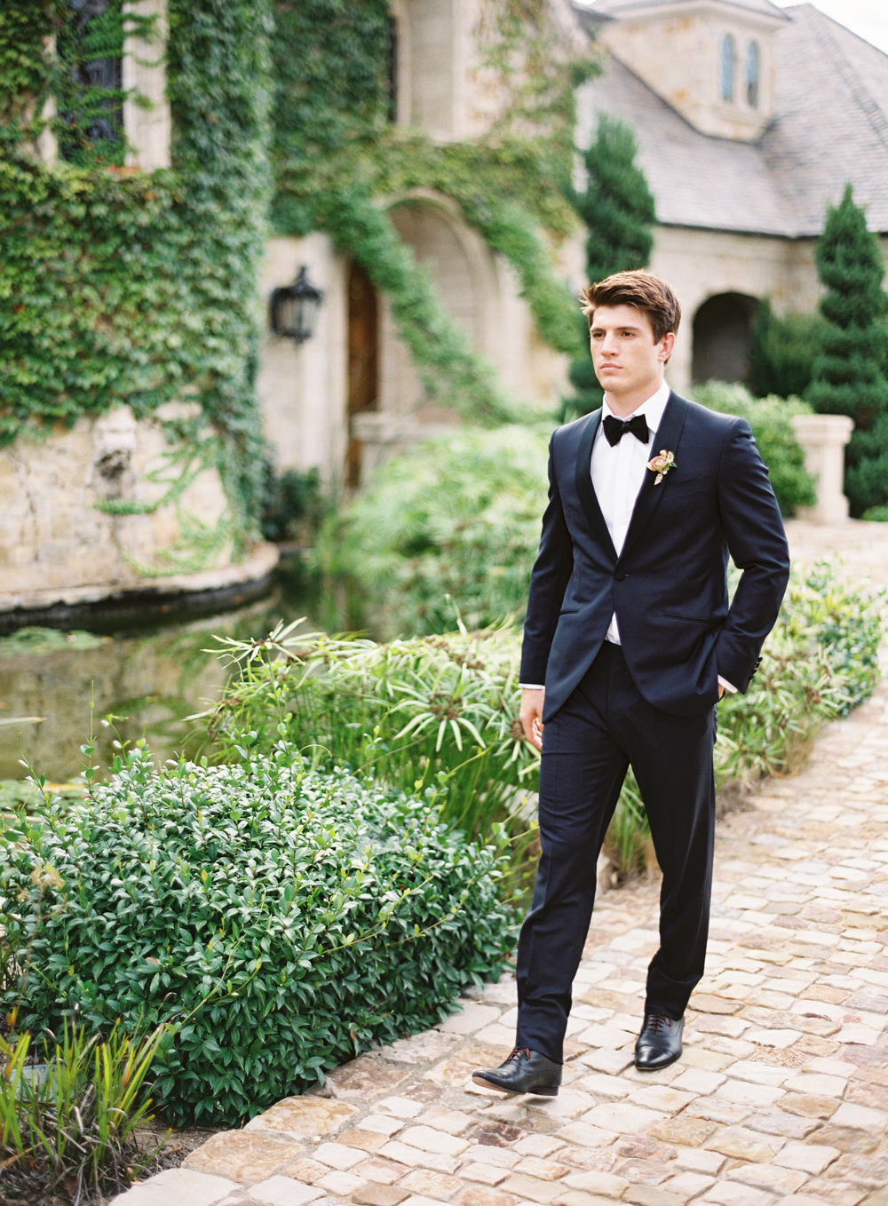 Luxury groom tux | Canali | Hidden Castle | Rancho Santa Fe | Estate Events with Venuelust | neutral wedding | European Wedding Inspiration | French wedding | France wedding photographer | Southern California film photographer | San Diego wedding photographer | Whiskers and Willow Photography