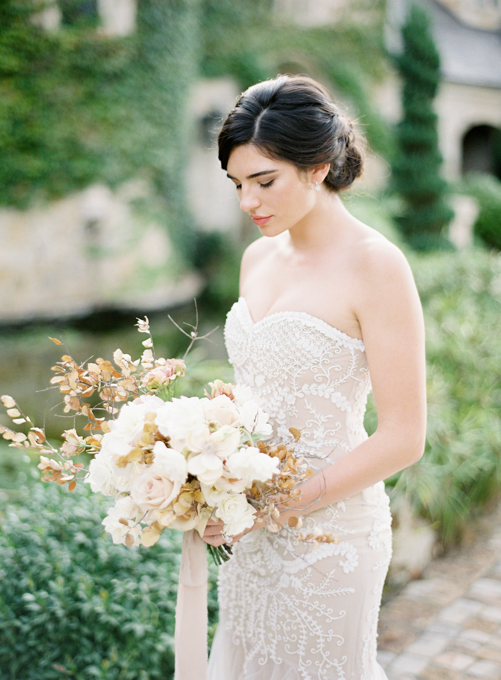 Neutral bridal bouquet by Plenty of Petals | Sachin and Babi wedding gown | Mbride | Beauty by Stacey | Luxury wedding | Hidden Castle | Rancho Santa Fe | Estate Events with Venuelust | neutral wedding | European Wedding Inspiration | French wedding | France wedding photographer | Southern California film photographer | San Diego wedding photographer | Whiskers and Willow Photography