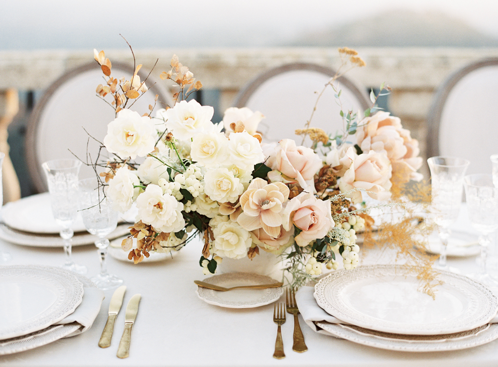 Neutral wedding tabletop | Neutral floral centerpiece by Plenty of Petals | Velvet linen by La Tavola Fine Linens | Luxury wedding | Hidden Castle | Rancho Santa Fe | Estate Events with Venuelust | neutral wedding | European Wedding Inspiration | French wedding | France wedding photographer | Southern California film photographer | San Diego wedding photographer | Whiskers and Willow Photography
