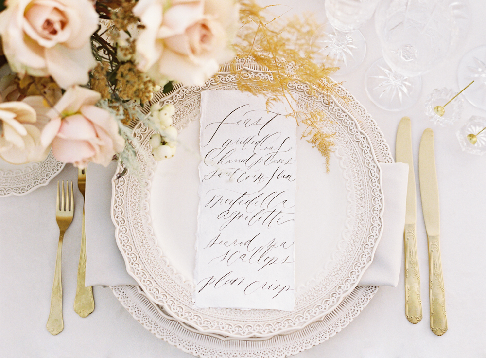 Neutral wedding tabletop | Neutral floral centerpiece by Plenty of Petals | Casa de Perrin | Velvet linen by La Tavola Fine Linens | Luxury wedding | Hidden Castle | Rancho Santa Fe | Estate Events with Venuelust | neutral wedding | European Wedding Inspiration | French wedding | France wedding photographer | Southern California film photographer | San Diego wedding photographer | Whiskers and Willow Photography