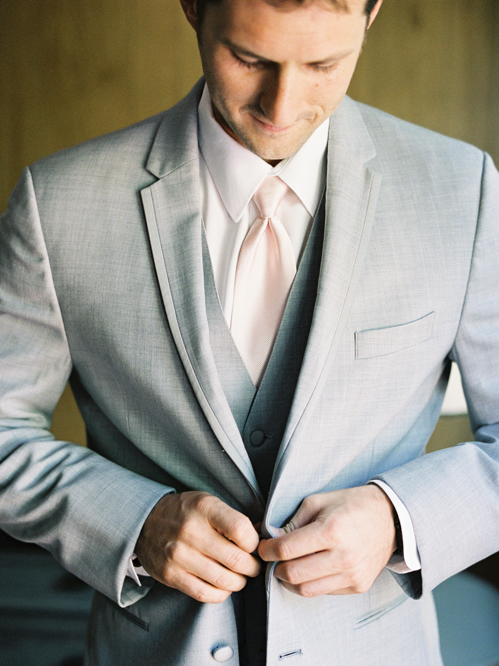 Groom Getting Ready | Grey three piece suit | Mount Palomar Winery Wedding | Blush and Lavender | San Diego wedding photographer | Temecula wedding photographer | Southern California film photographer | Whiskers and Willow Photography