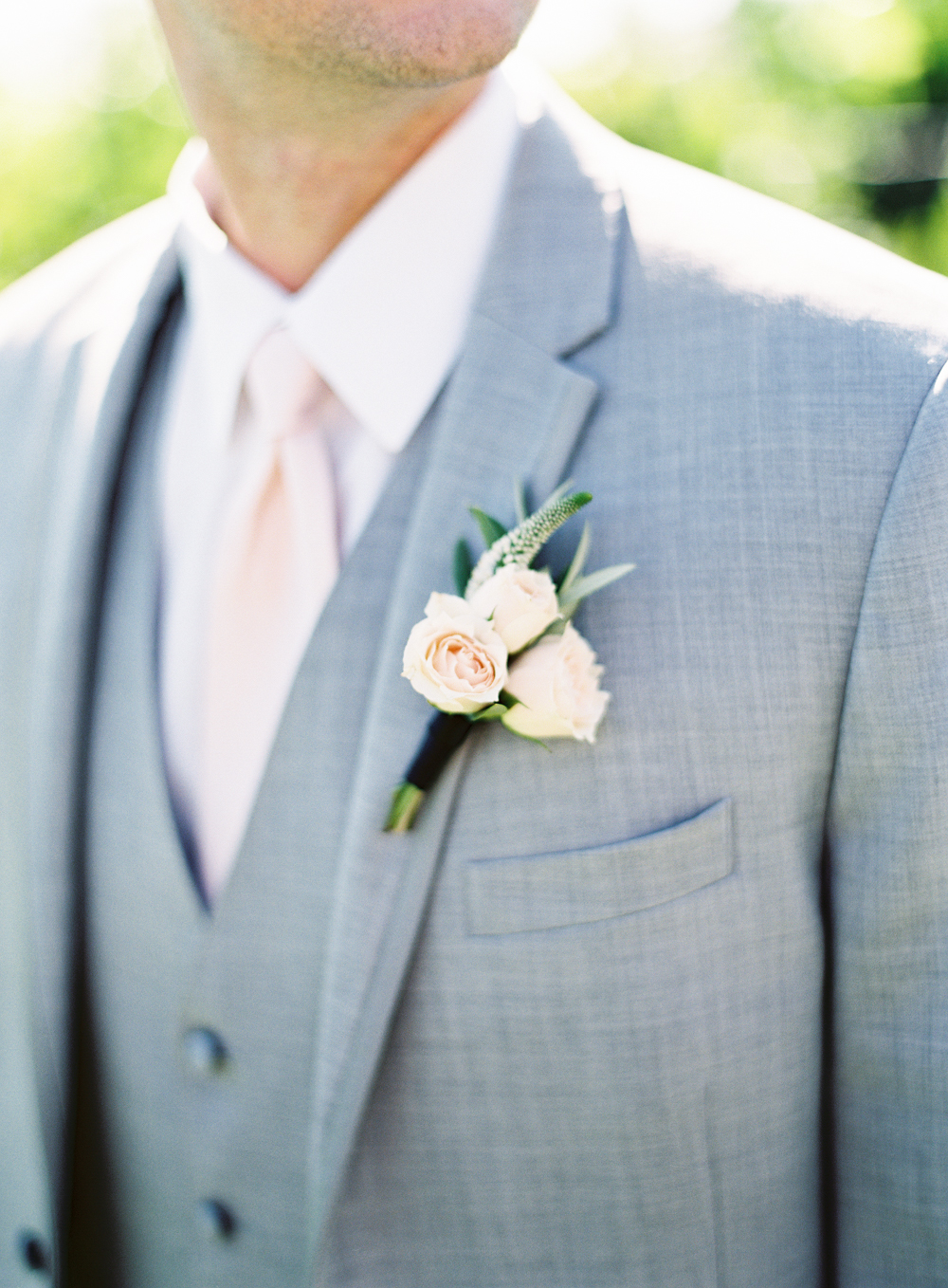 Posh Peony bouttoniere | Grey three piece suit | Mount Palomar Winery Wedding | Blush and Lavender | San Diego wedding photographer | Temecula wedding photographer | Southern California film photographer | Whiskers and Willow Photography