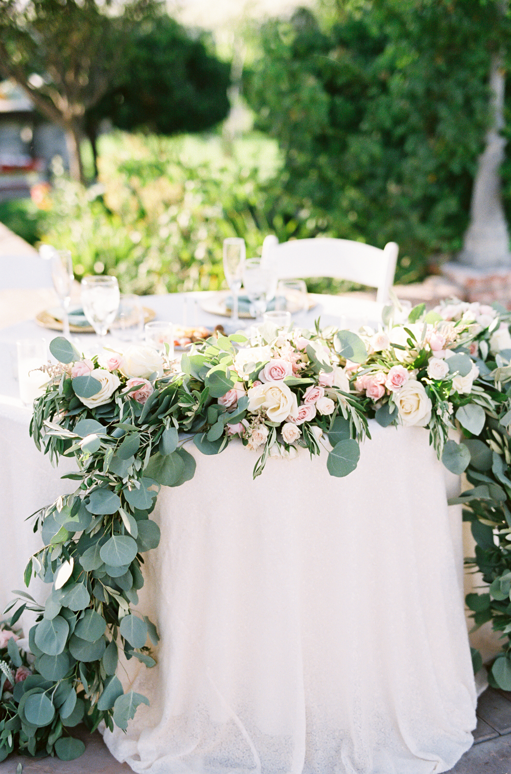 Posh Peony garland | sweetheart table | Mount Palomar Winery Wedding | Blush and Lavender | San Diego wedding photographer | Temecula wedding photographer | Southern California film photographer | Whiskers and Willow Photography