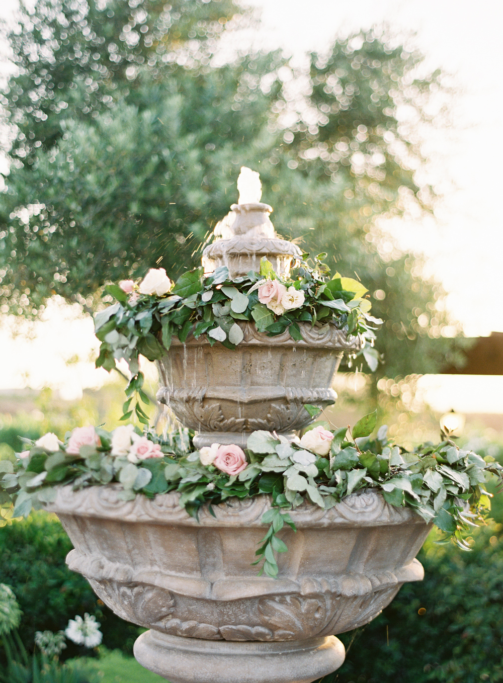 Posh Peony garland | romantic foutain | Mount Palomar Winery Wedding | Blush and Lavender | San Diego wedding photographer | Temecula wedding photographer | Southern California film photographer | Whiskers and Willow Photography