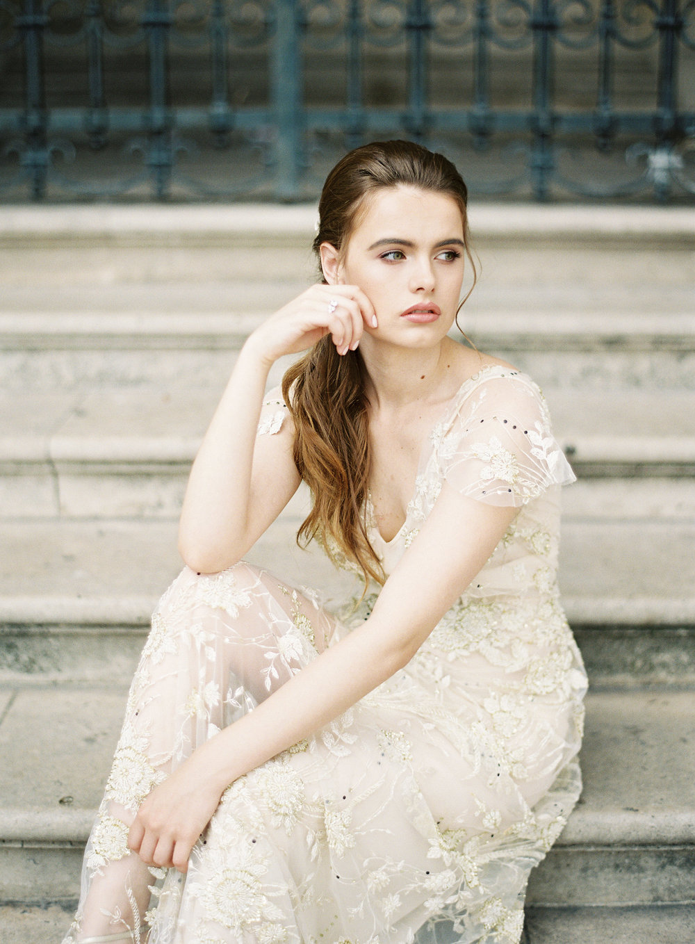 Paris Bride | Gold wedding gown | Ethereal Bride | Shop Gossamer | Bella Belle Shoes | Paris wedding photographer | Paris film photographer | France wedding photographer | France film photographer | Whiskers and Willow Photography