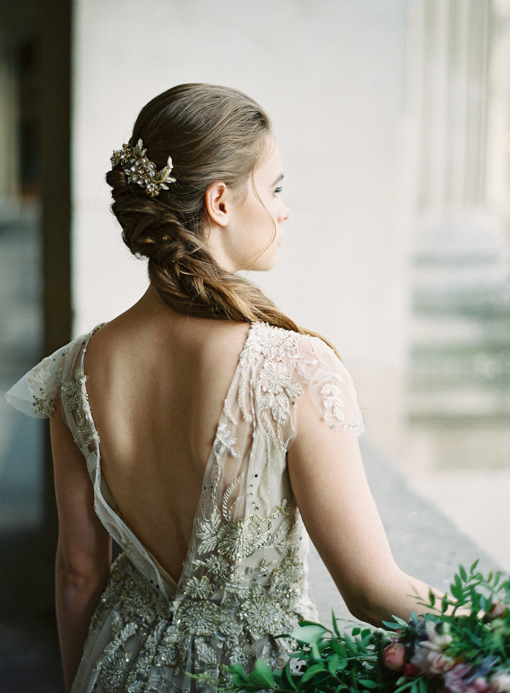 Paris Bride | Bridal Hairpiece | Bridal Hair | Gold wedding gown | Ethereal Bride | Shop Gossamer | Bella Belle Shoes | Paris wedding photographer | Paris film photographer | France wedding photographer | France film photographer | Whiskers and Willow Photography.jpg