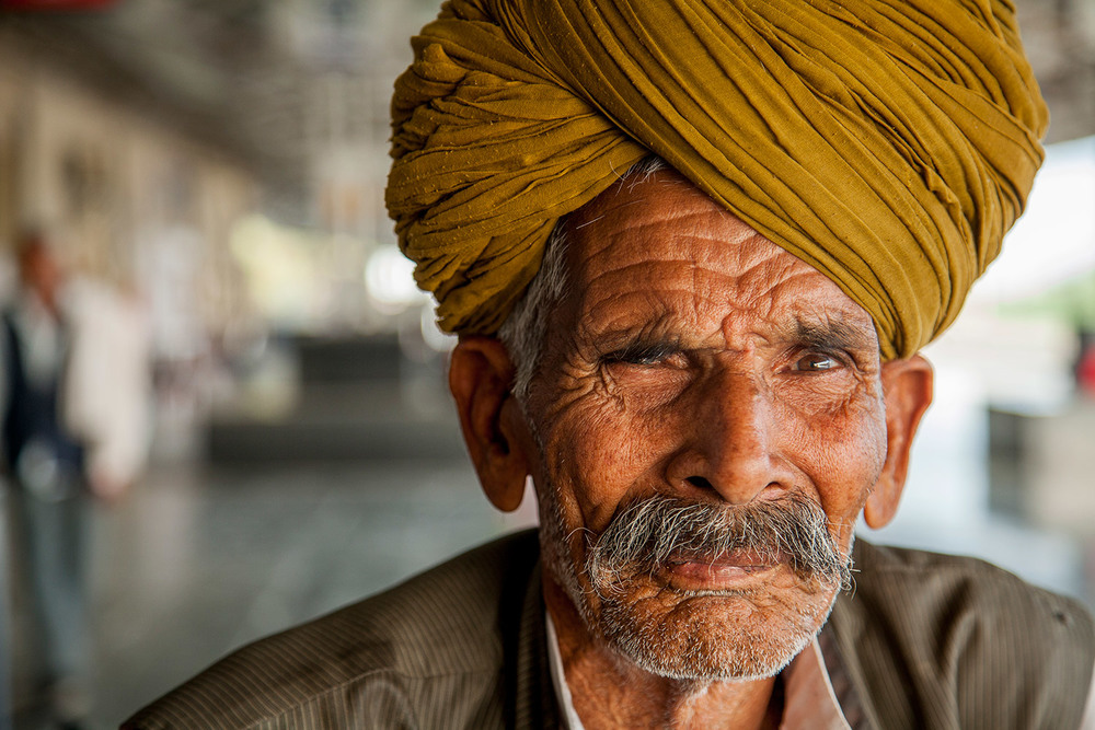 Man in the train station in Bundi