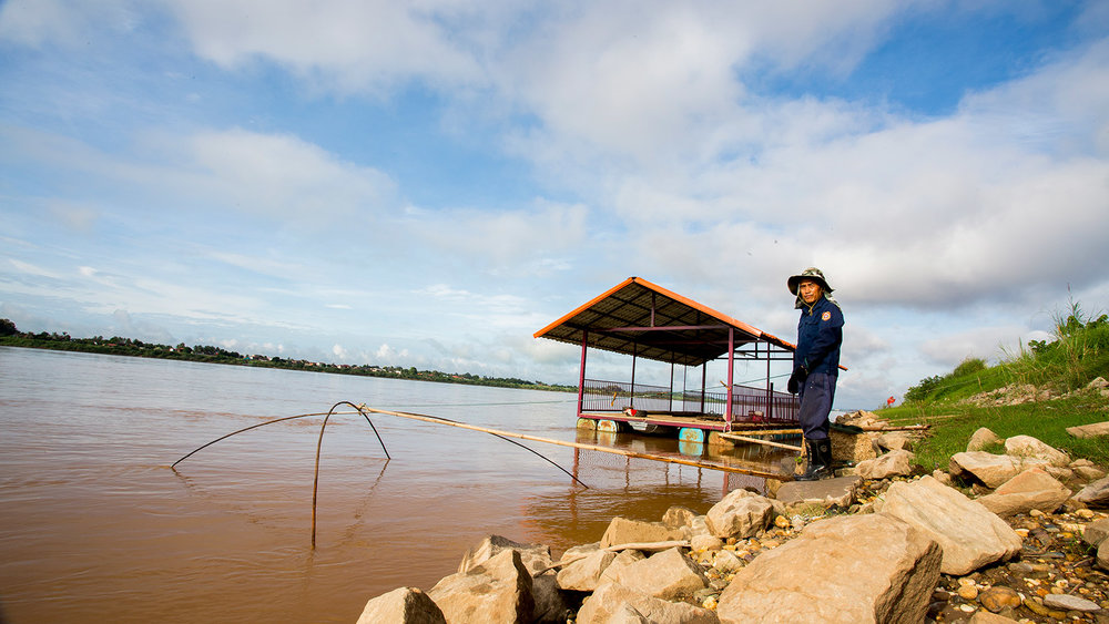 Fisherman on the Mekong in Laos