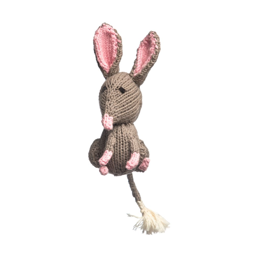 Organic Cotton Bilby - 12 cm tall (back of body to tip of ears)