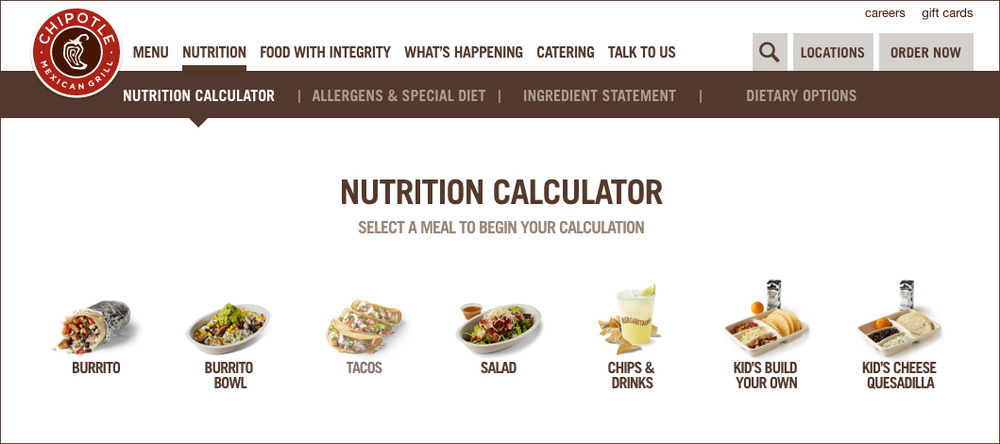 Chipotle provides customers with a nutrition calculator for their meals.