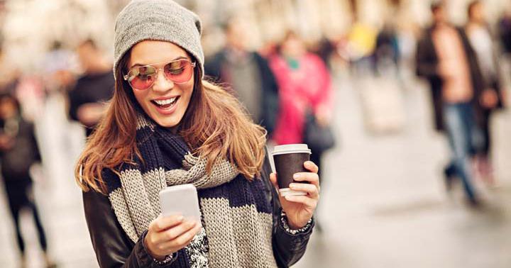 Millennials woman on social media