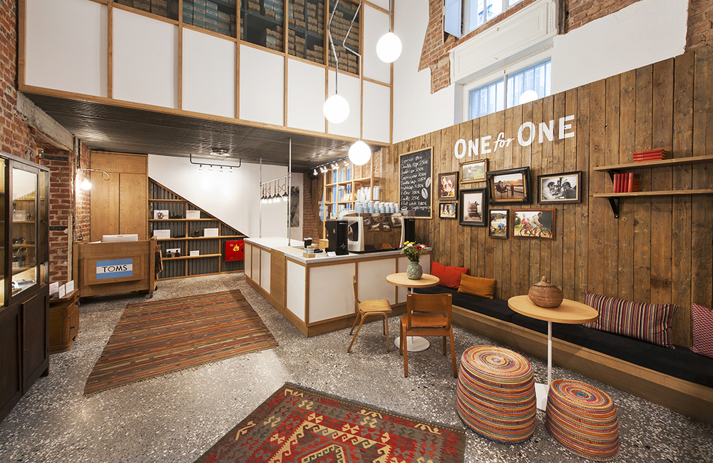 The first Flagship TOMS store in Greece, featuring TOMS Roasting Co. coffee and the 'One for One' charity initiative, April 2015.