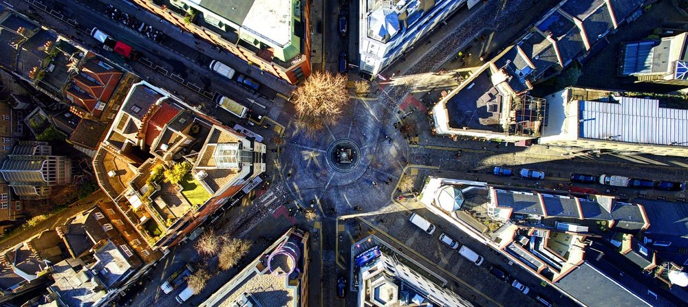 Birds eye view of 7 Dials, situated in the heart of Covent Garden