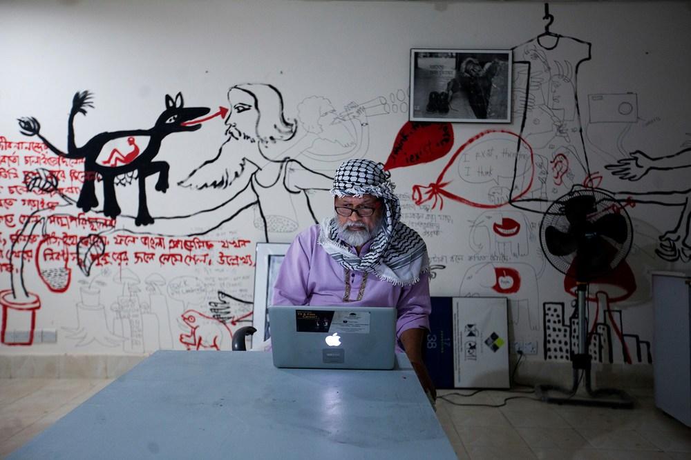 Shahidul Alam in the Chobi Mela Office | Photo: Nabil Rahman