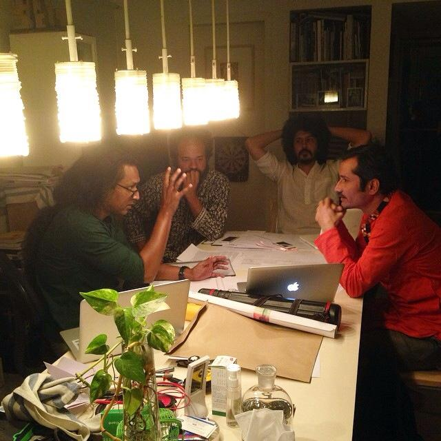The curators at work in Salauddin Ahmed's office. Photo: Nabil Rahman