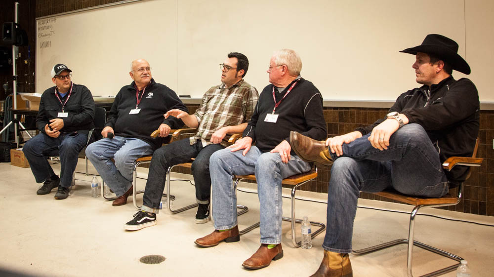 The wood and smoke panel consisting of Daniel Vaughn, Texas Monthly barbecue editor, as the moderator, Dr. Jeff Savell, Aaron Franklin,  Dr. Nick Nickelson and Kevin Kolman of Weber Grills.