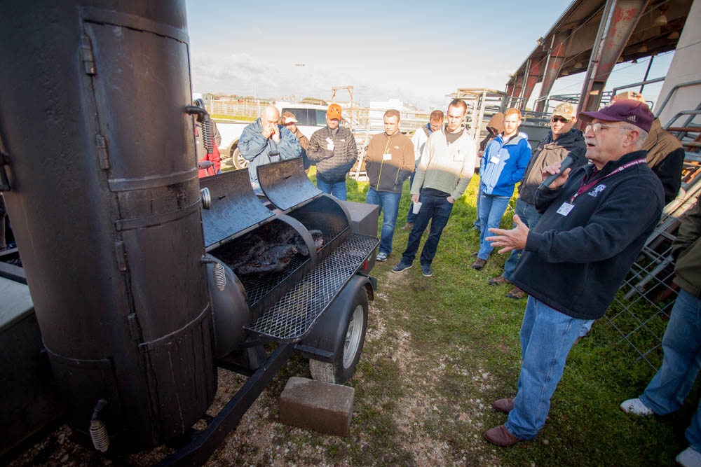 Dr. Jeff Savell describing the air flow of this offset smoker with vertical side chamber