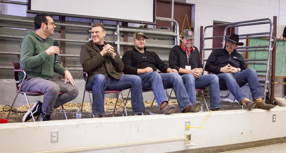 Some serious aerodynamics info coming from the pit design panel.  Aaron Franklin, Wayne Mueller, Louie Mueller Barbecue, Arnis Robbins, Evie Mae's Pit Barbecue & Kevin Kolman of Weber